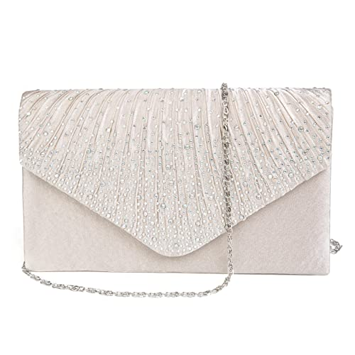 7d05d414d7 Kaever Evening Clutch, Womens Satin Rhinestone Envelope Clutch Purse for  Wedding and Party (Apricot