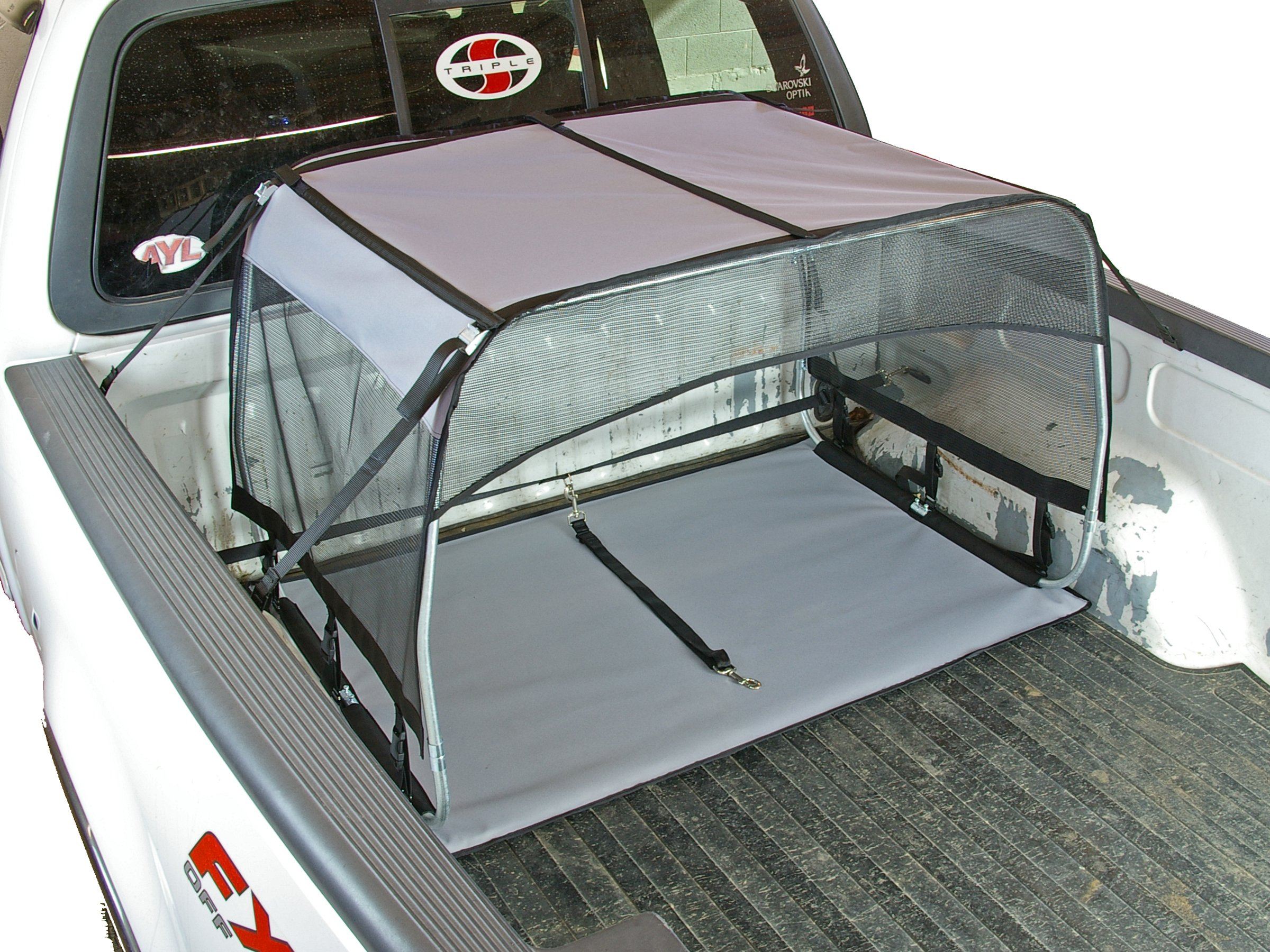 Bushwhacker® - Paws n Claws K9 Canopy w/ Pad and Tether for Truck Beds - Dog Shade Shelter Kennel Hound Hut Tent Leash Pup Restraint Carrier Lead Barrier Vehicle Crate Bed Harness House Shelter Cover Box Chain Tie Out by Bushwhacker