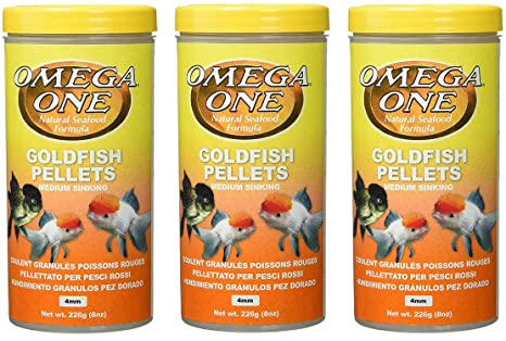 Omega One 3 Pack of Goldfish Medium Pellets, 8 Ounces Each