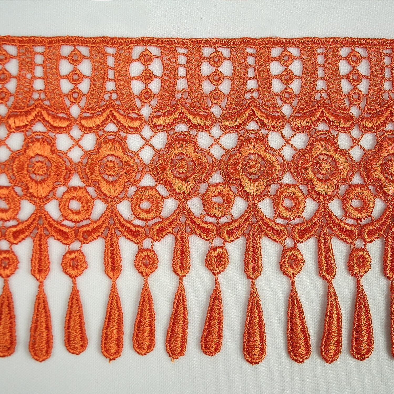 Burgundy Altotux 4 12 Colors Teardrop Fringe Venice Floral Lace Trim Guipure By Yard