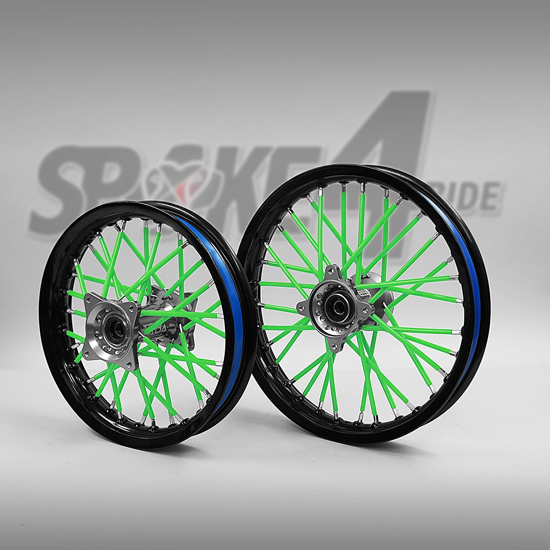 Cubre radios Verde Rayos Spoke Skins Motocross llanta enduro rueda moto Spoke4ride