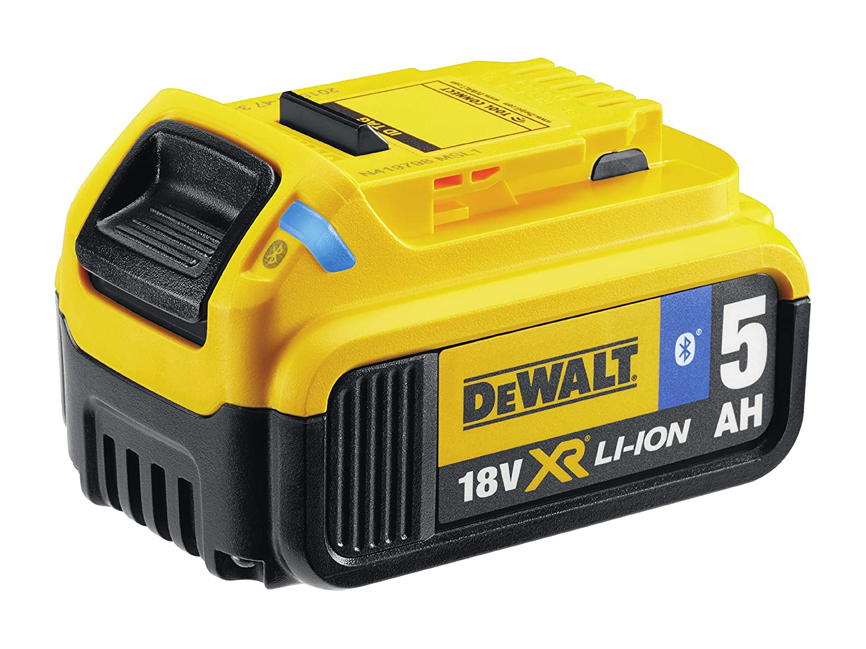 Dewalt DCB184B-XJ Bluetooth Slide Li-Ion Battery Pack 18 Volt 5.0Ah, 18 V, Black/Yellow