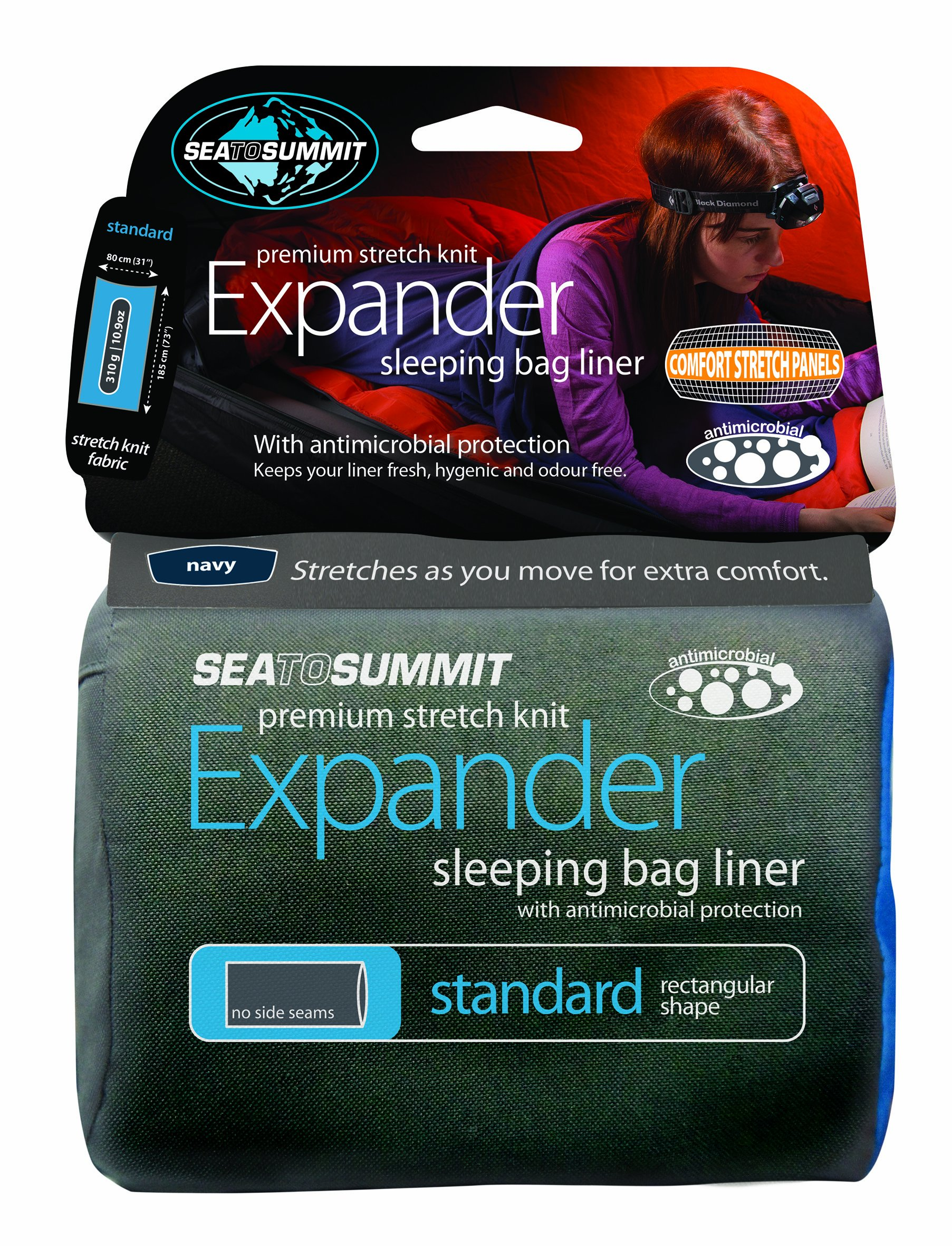 Sea to Summit Premium Stretch Knit Expander Liner, Pacific Blue, Rectangular (73 x 36in) by Sea to Summit