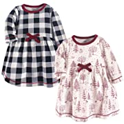 Touched by Nature Baby Girls' Organic Cotton Dress, Winter Woodland Long Sleeve 2-Pack, 0-3 Months (3M)