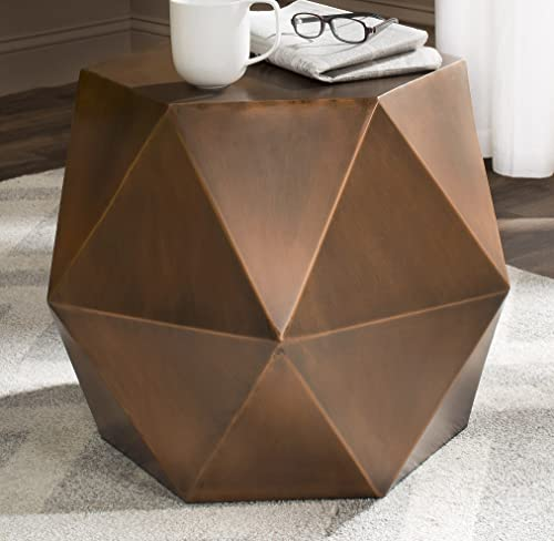 Safavieh Home Collection Astrid Geometric Copper Faceted Side Table