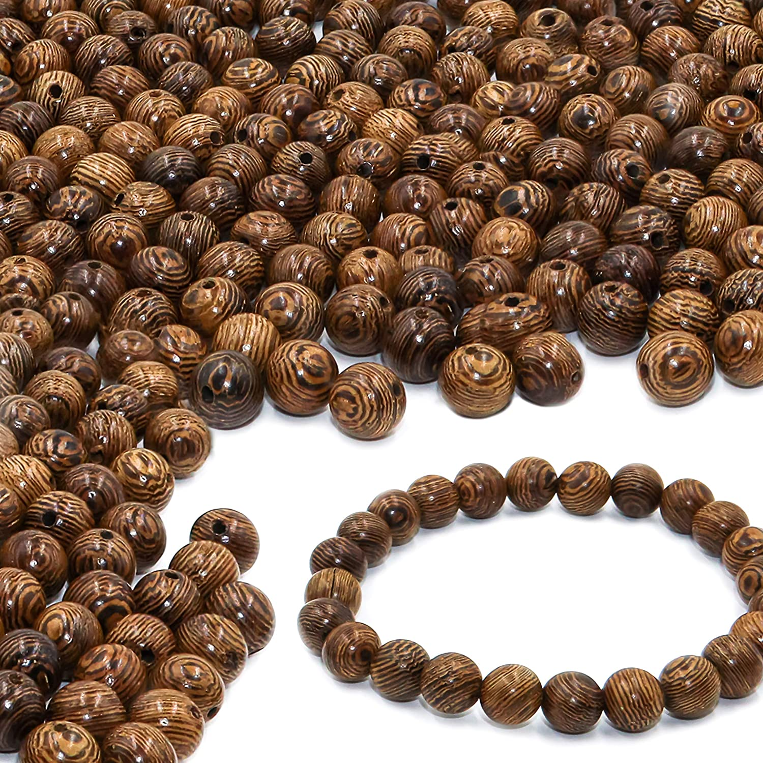 50 Pieces Mixed Dyed Color Flower Wood Beads Lovely Beads Bracelet for DIY