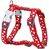 Red Dingo Desinger Dog Harness, White Spots on Red (12mm x Neck: 25-39cm/Body 30-44cm) XS