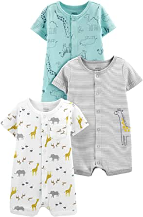 Simple Joys by Carter's 3-Pack Snap-up Rompers - Infant-and-Toddler-Bodysuit-Footies Unisex bebé