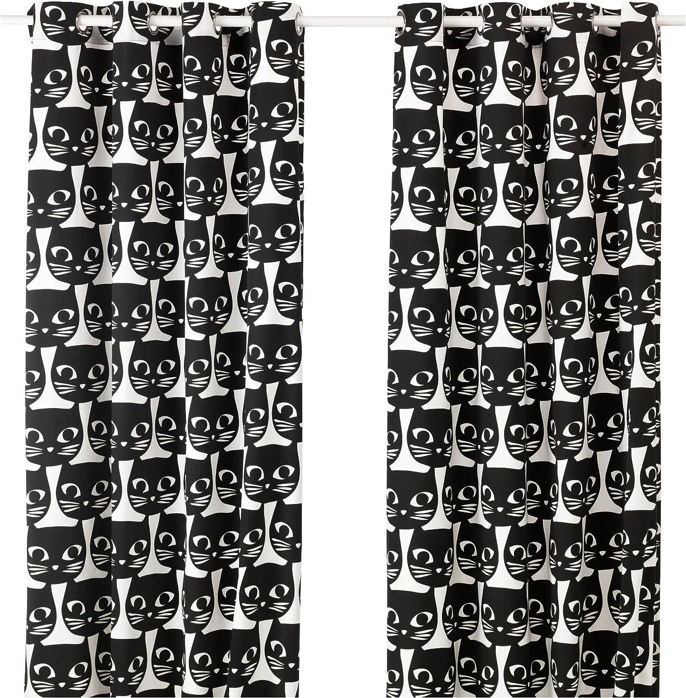 IKEA Gardinen Paar Katzen MATTRAM schwarz weiß mit Ösen