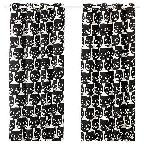Ikea cortinas par de gatos mattram Negro de color blanco con ...