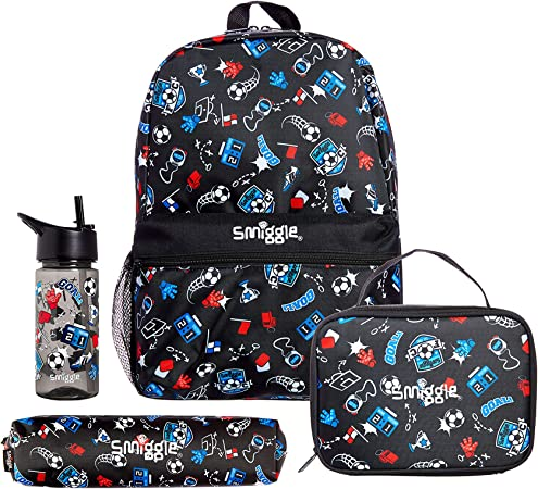 Lunchbox Water Bottle and Pencil Case Football Print Smiggle Giggle Backpack School Bundle for Boys /& Girls containing Backpack
