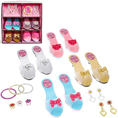 IQ Toys Role Play Princess Dress Up Play Shoes and Jewelry Boutique Set with 4 Pairs of Shoes, 3 Rings, 3 Bracelets, and 2 Sets of Earrings for Super Star Little Girls: Toys & Games