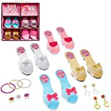 IQ Toys Role Play Princess Dress Up Play Shoes and Jewelry Boutique Set with 4 Pairs of Shoes, 3 Rings, 3 Bracelets, and 2 Sets of Earrings for Super Star Little Girls