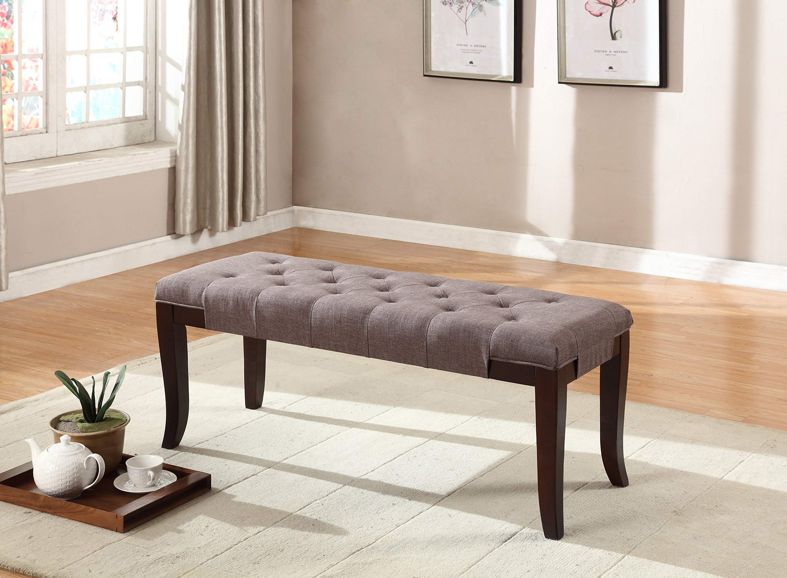 Roundhill Furniture Linon Fabric Tufted Ottoman Bench, Brown by Roundhill Furniture