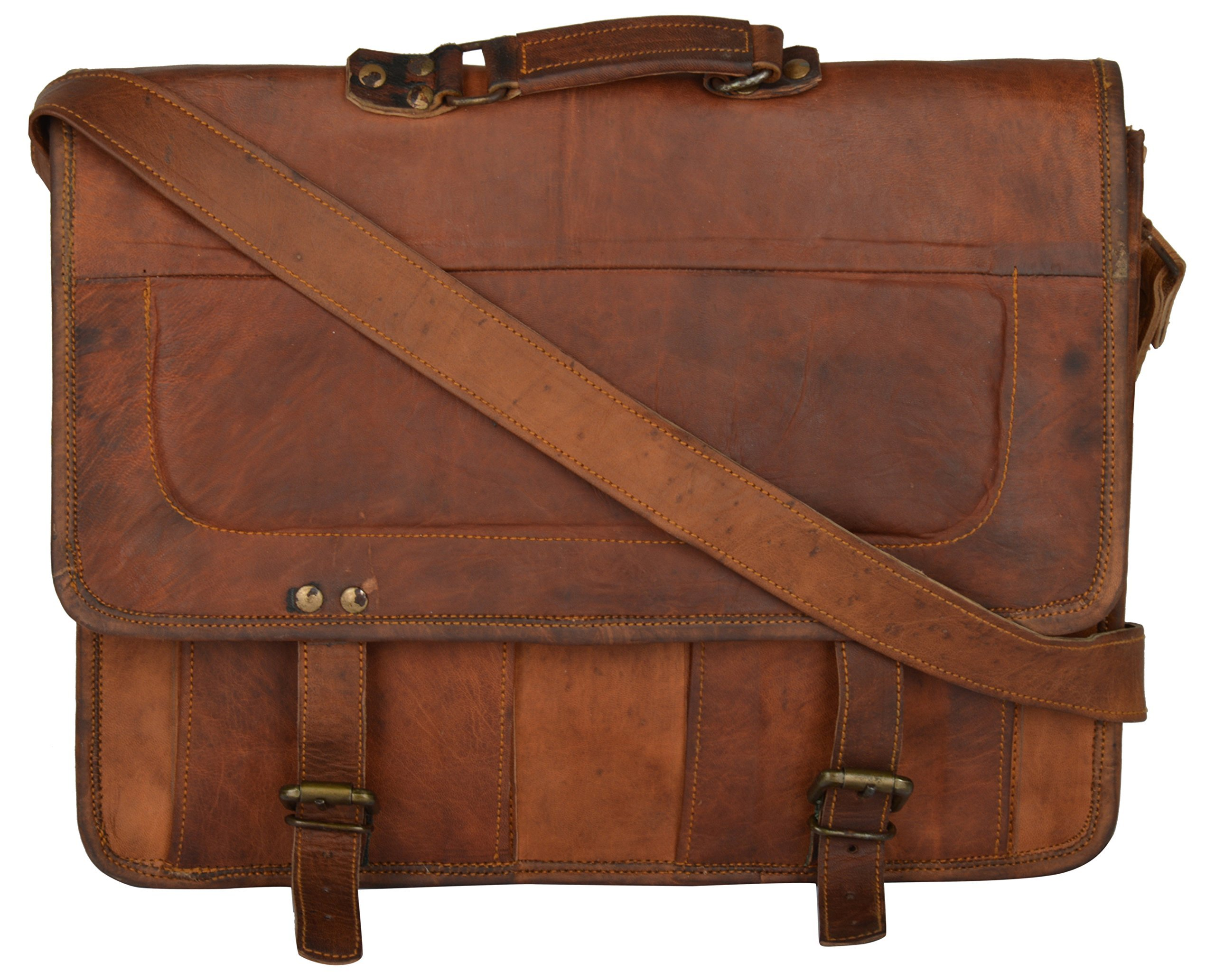 Handcrafted exports Men's Leather Laptop Messenger Bag 8 Liters 18'' Brown