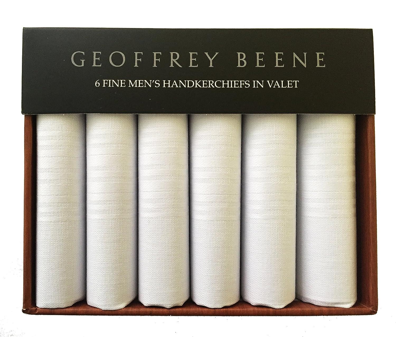 Geoffrey Beene Valet of 6 Handkerchiefs 100% Cotton White Gift Box Set