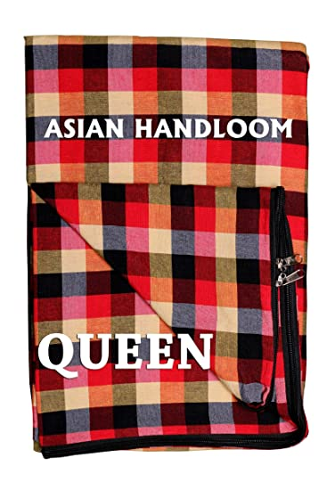 Asian Handloom Mattress Cover For Queen Size Bed With Zip (All Customized Sizes Available)(78X60X6)