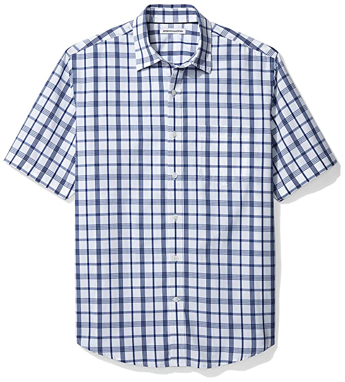 Amazon Essentials Men's Short-Sleeve Plaid Shirt