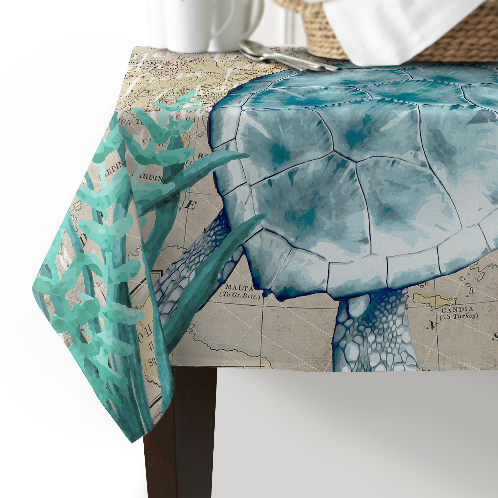Cotton linen Tablecloth,Ocean Animals Sea Turtle Marine Life Table Cover - Wedding Restaurant Party Banquet Decoration 60x120inch
