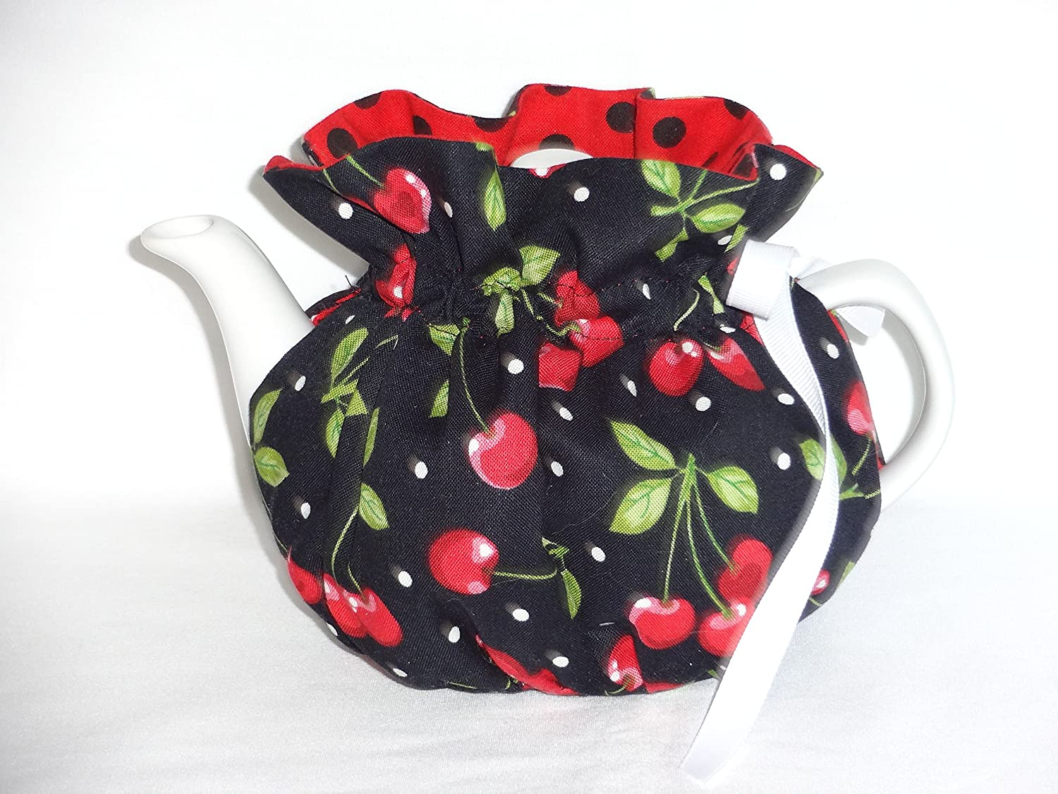 2 Cup Pretty Cherries on Black Reversible Tea Pot Cozy 91VFNGxoGnL