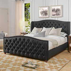 Jennifer Taylor Home Marcella Upholstered Bed - King (Jet Black)
