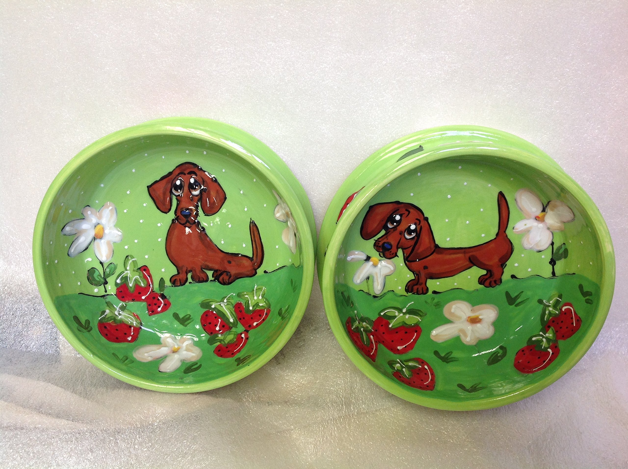 Dachshund 8'' and 6'' Pet Bowls for Food and Water. Personalized at no Charge. Signed by Artist, Debby Carman.