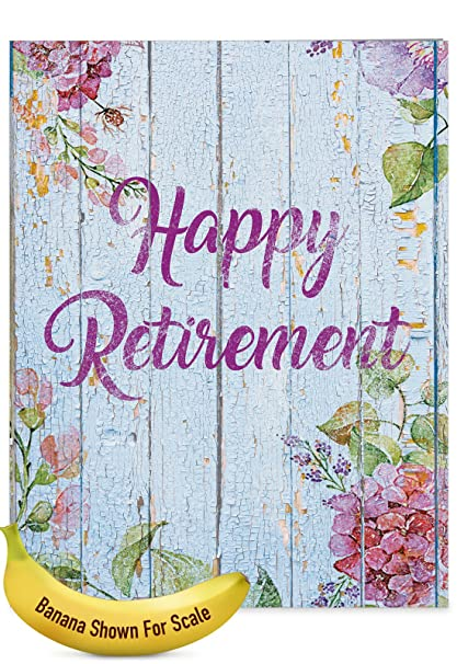 Amazon jumbo 85 x 11 happy retirement greeting card jumbo 85quot x 11quot happy retirement greeting card blooming driftwood retirement from m4hsunfo
