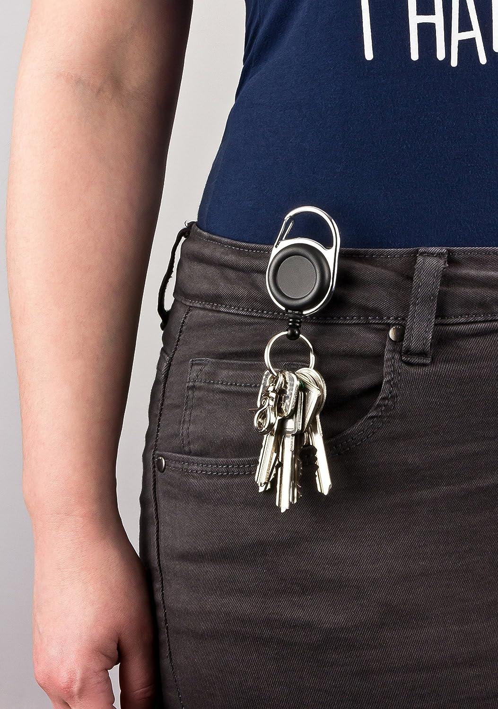 con clip per cintura anello portachiavi e linguetta in tessuto rinforzato Clip portabadge a yo-yo con molla extra potente e cordino resistente 2 pezzi 2 pezzi,Be-Hold versatile