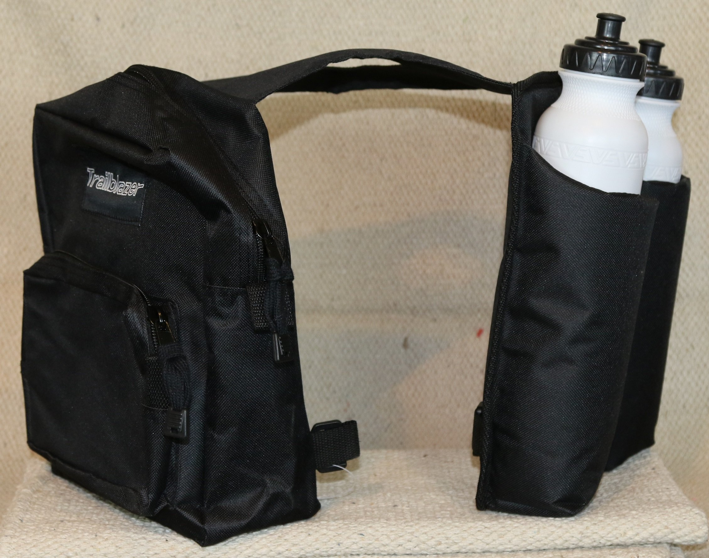 BLACK TRAILBLAZER HORN POMMEL BAG SADDLE BAGS TRAIL WITH 2 WATER BOTTLES
