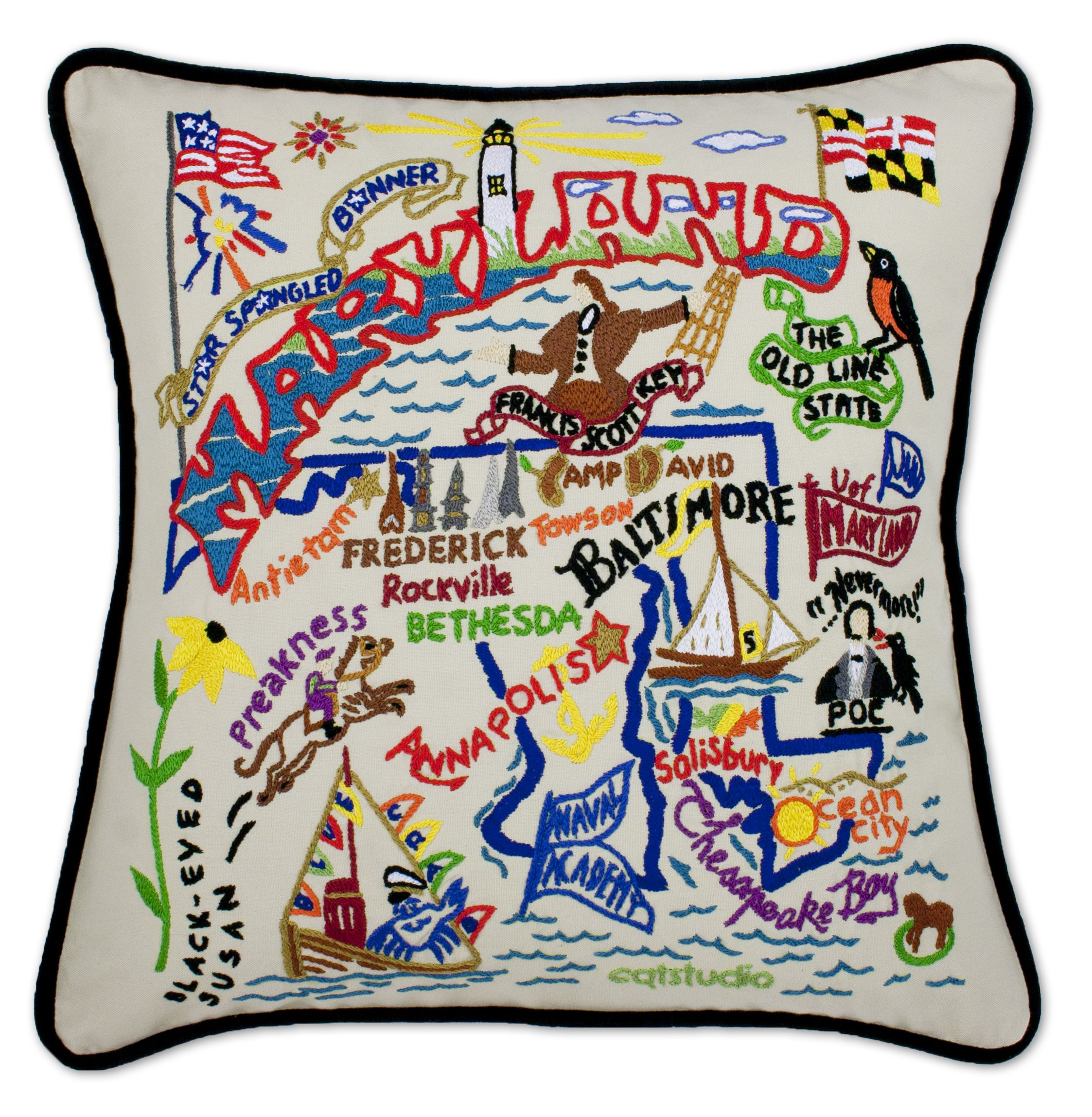 Catstudio | Maryland Throw Pillow | Hand-Embroidered | 20'' x 20''