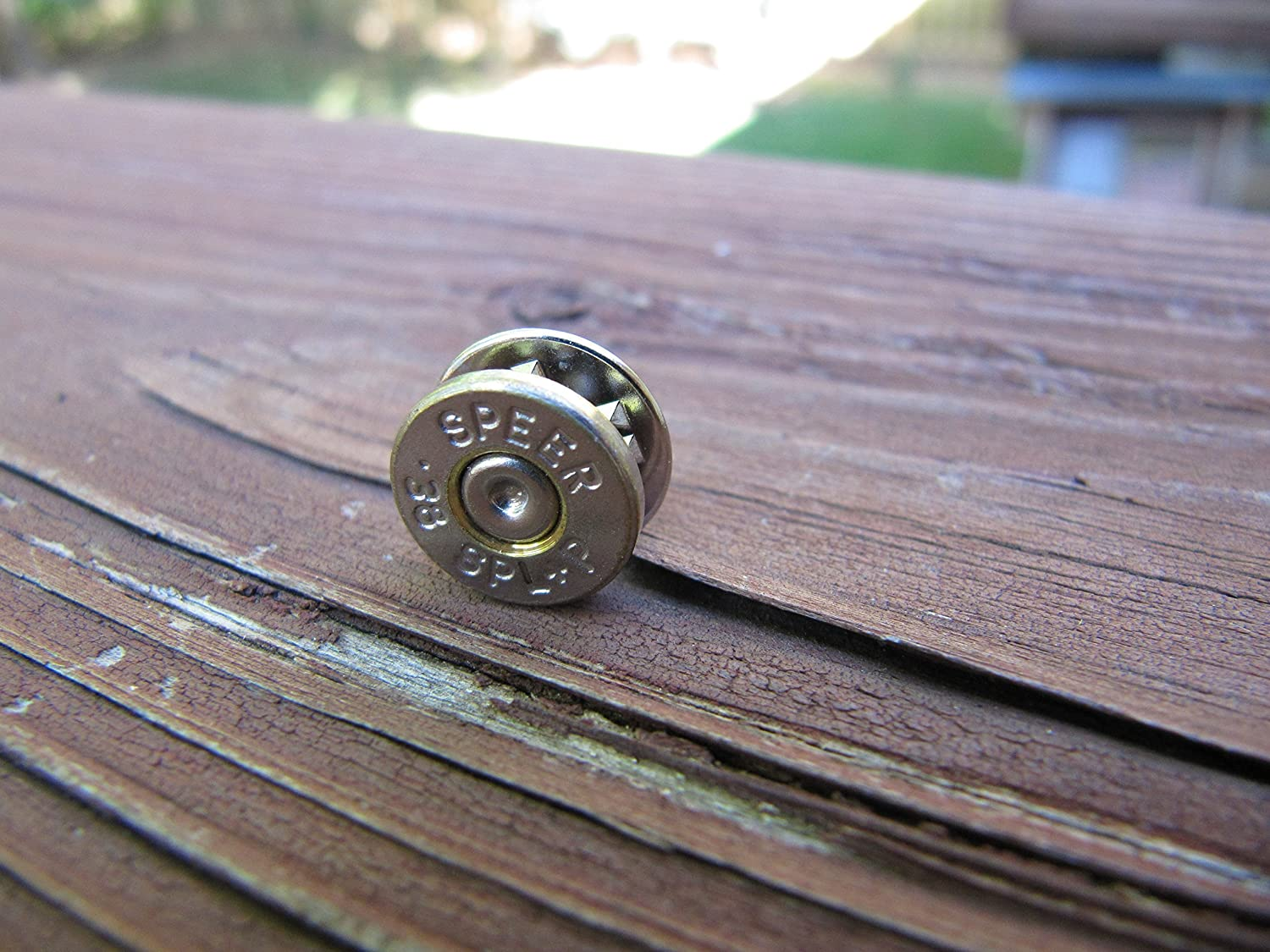 Bullet Tie Tack -Hat Tack - 38 special Bullet - Small Thin Cut Bullet - Tie Tack Wedding or Groomsman