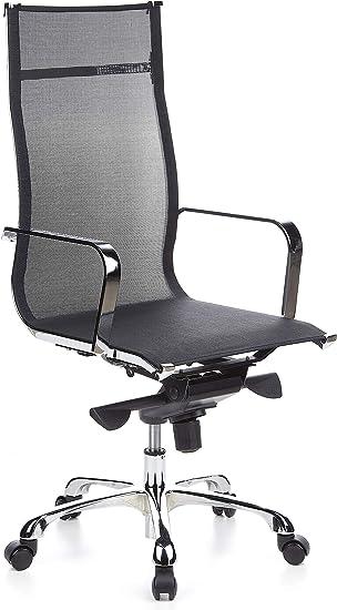 hjh OFFICE 660930 chaise de bureau, fauteuil de bureau EMILIA gris, siège pivotant avec accoudoirs, tissu maille respirant et anti abrasif, dossier