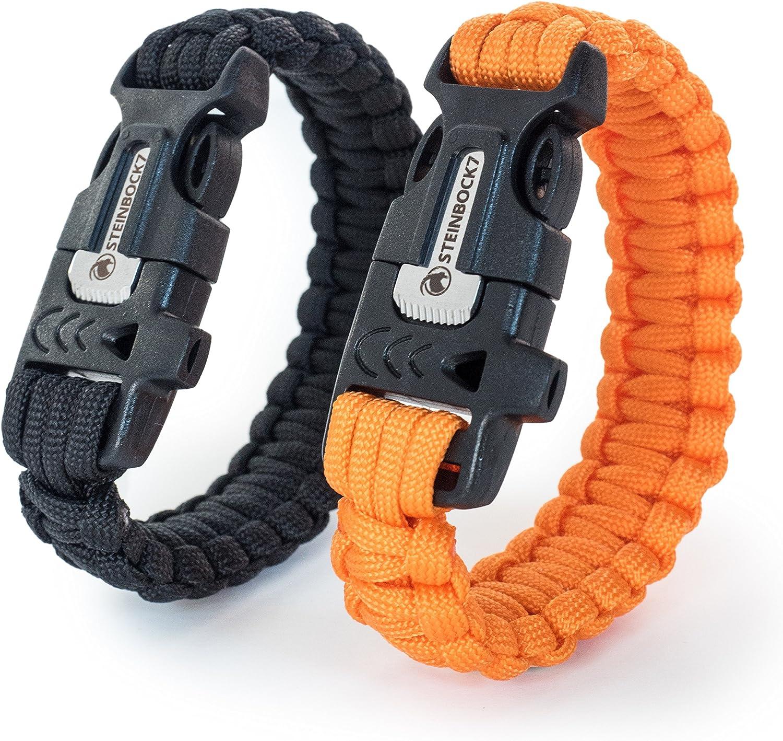 STEINBOCK7/Survival Bracelet Paracord Pierre /à feu Pipe Lot de 2 Instructions pour Le tressage Couteau