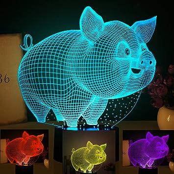 Amazon.com: Lámpara de noche 3D abstracta con forma de cerdo ...