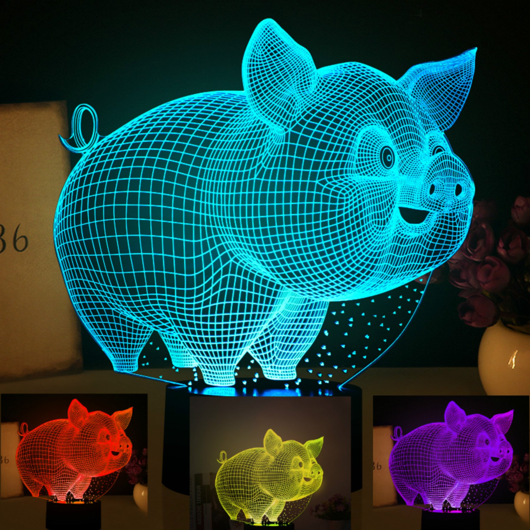 3D Abstract Animal Pig Lamp Creative Night Light 7 Color Change LED Table Desk Lamp Acrylic Flat ABS Base USB Charger Home Decoration Toy Brithday Xmas Kid Children Gift