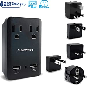 2000 W Travel Adapter Kit w/ 2 USB Ports & Outlets - International Power Adapter Plug Europe US UK Adaptor - 220-110V Converter - Smart 2.4 A USB Electrical Charger Dual Voltage Device Sublimeware
