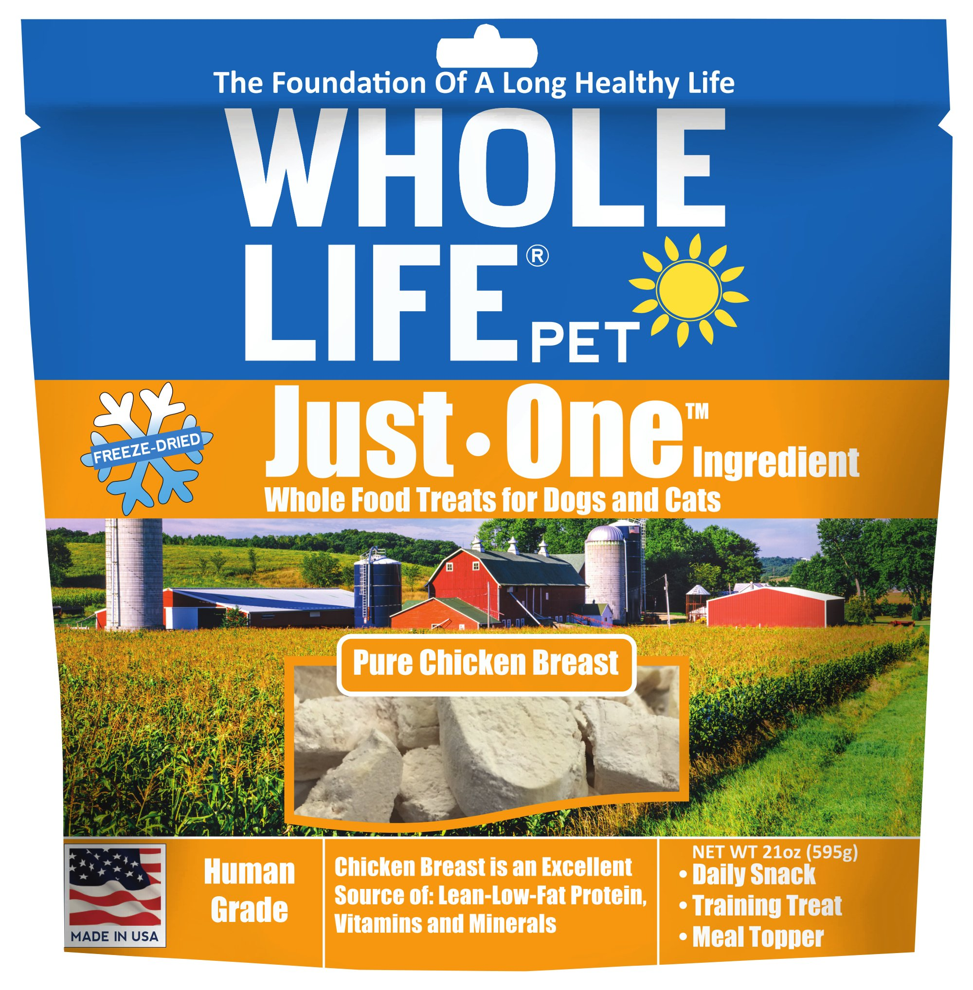 Whole Life Pet Single Ingredient USA Freeze Dried Chicken Breast Treats Value Pack for Dogs and Cats, 21-Ounce