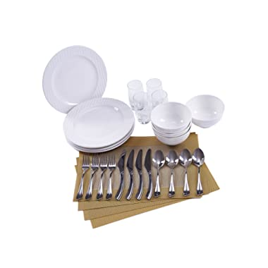 The London Collection by Ensemble - Designer Curated Place Setting for 4 (Dinnerware, Glassware, Flatware and Placemats)