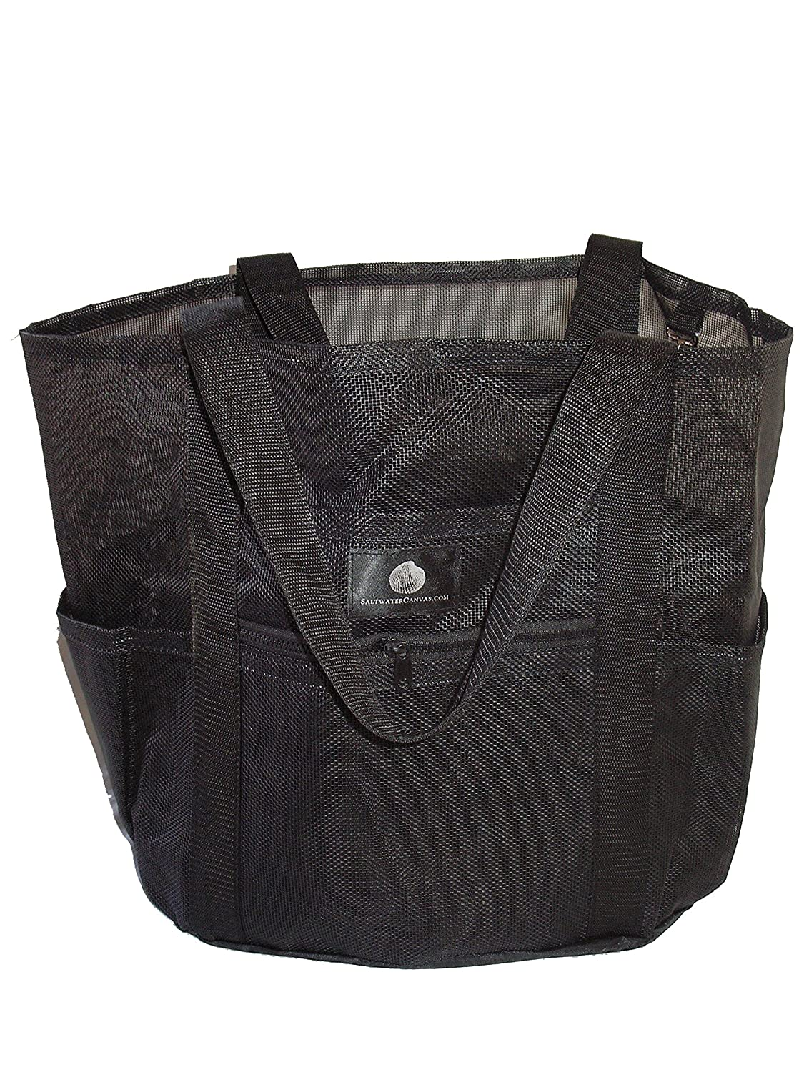 Saltwater Canvas Family Mesh Whale Bag, Sand Waterproof base, 9 pockets, Black