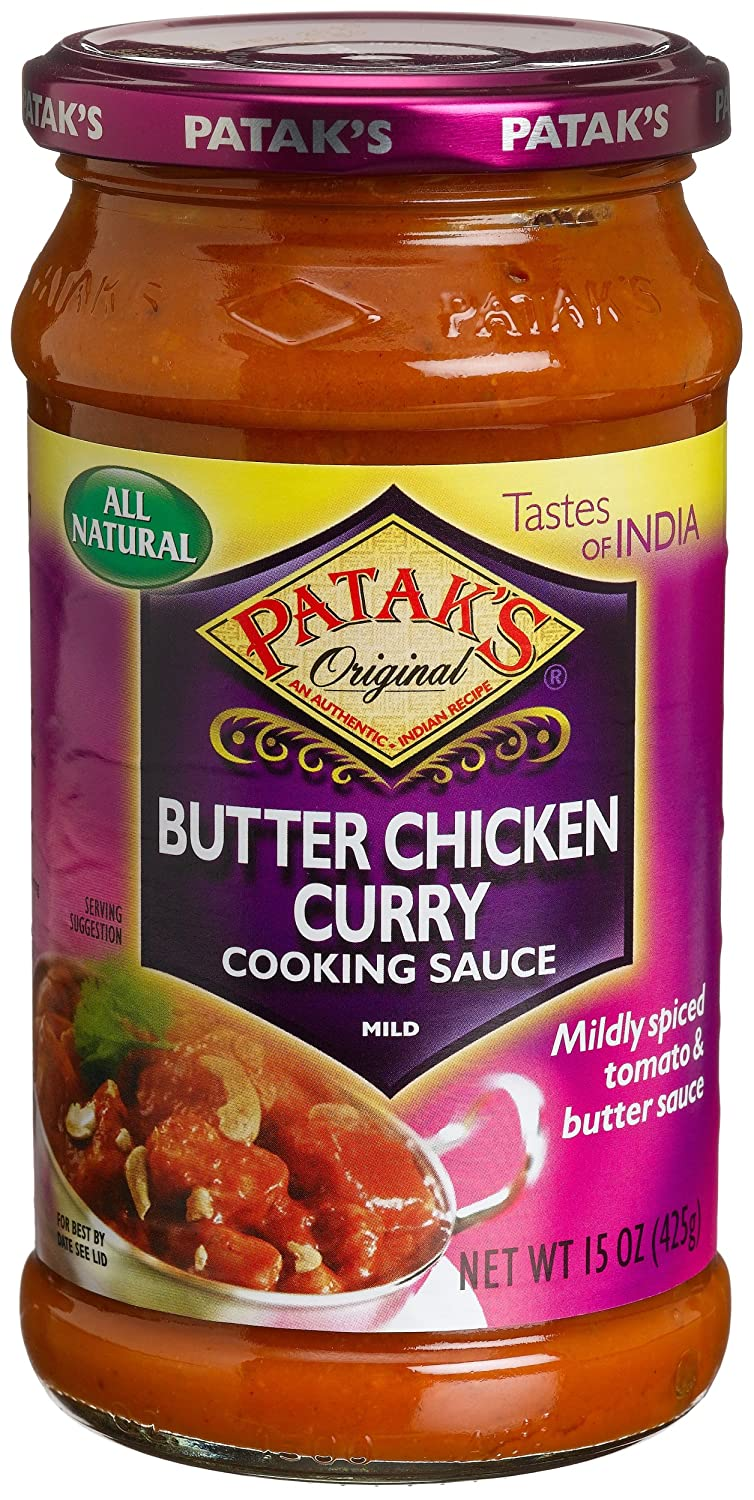 Amazon.com : Pataku0027s Butter Chicken Curry Cooking Sauce, Mild, 15 Ounce  Glass Jars (Pack Of 6) : Packaged Mexican Enchiladas Kits : Grocery U0026  Gourmet Food