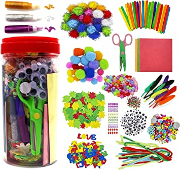 Amazon Com Assorted Arts And Crafts Supplies For Kids Girls Ages 6 7 8 9 10 Pipe Cleaners Letter Beads Pom Poms Glue Sticks Wiggle Googly Eyes All In One Toddler Crafts Set For School Projects Diy