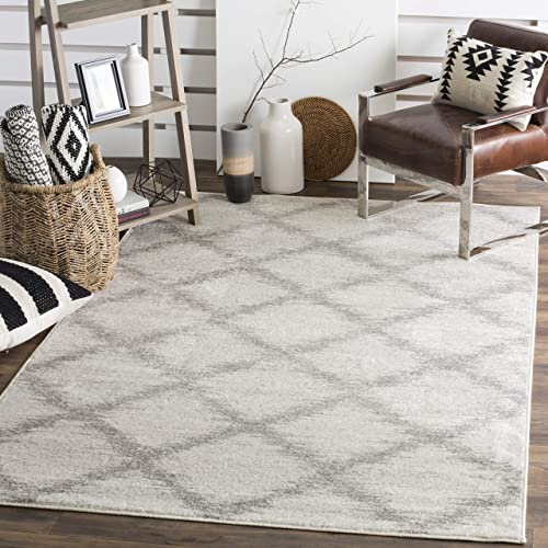 Safavieh Adirondack Collection ADR122B Ivory and Silver Modern Trellis Area Rug 6 x 9