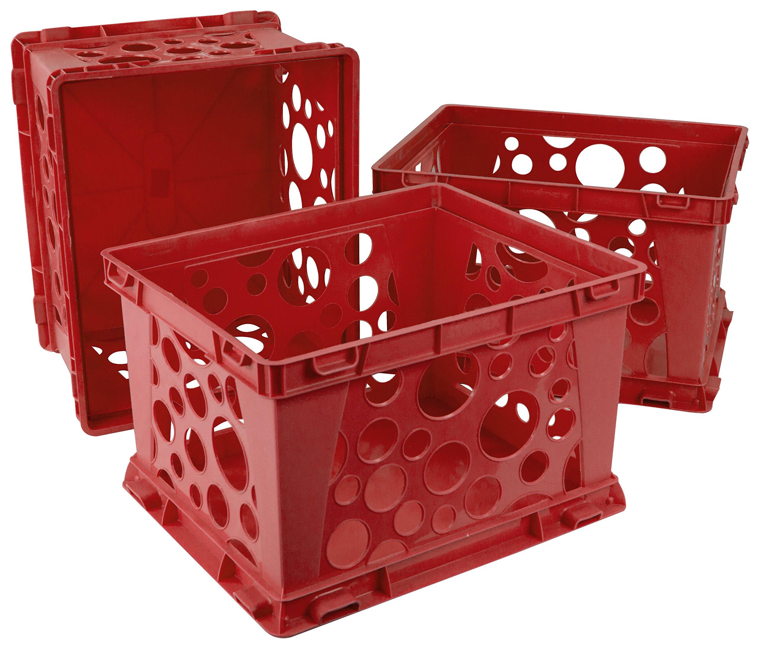 Storex Mini Crate, 9 x 7.75 x 6 Inches, School Red, Case of 3 (61491U03C)