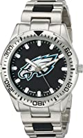 Philadelphia Eagles Men's Casual Leather Strap Watch