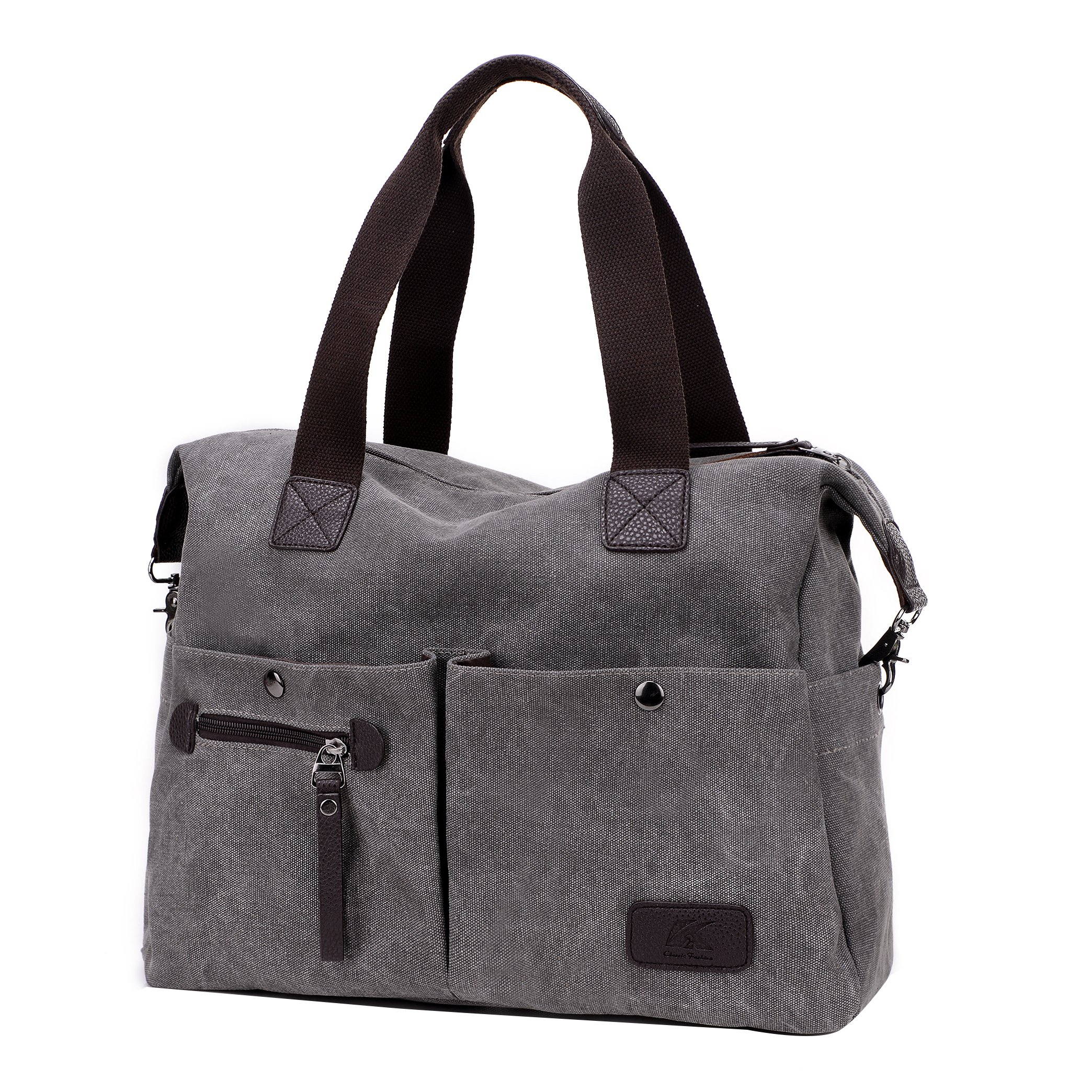 Lonson Unisex Canvas Shoulder Bag Big Travel Handbag Weekend Tote Bag (Gray)