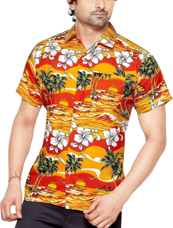 CLUB CUBANA - Camisa casual - Floral - Clásico - Manga corta - para hombre naranja naranja xx-large: Amazon.es: Ropa y accesorios