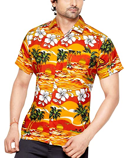 f30be24e CLUB CUBANA Men's Polyester Slim Fit Classic Short Sleeves Casual Floral Hawaiian  Shirt (Orange,