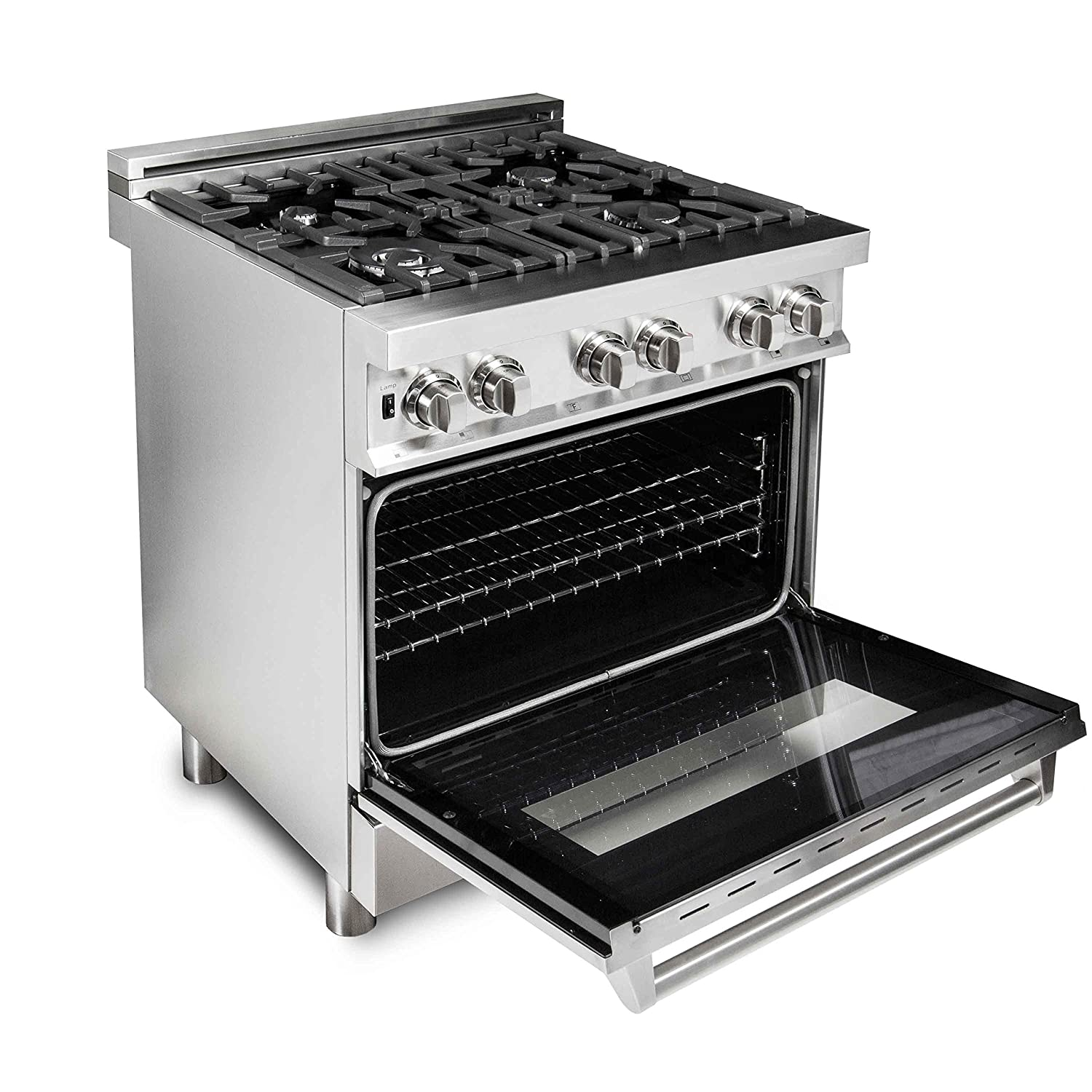 ZLINE 30 in. Professional 4.0 cu. ft. Gas Burner Electric Oven Range in Stainless Steel RA30