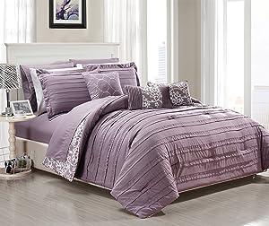 Chic Home 10 Piece Lea Bedding Set, King, Plum