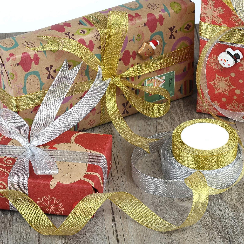 2cm de Ancho Kesote 2 Rollo de Cinta de Organza Dorada y Plata con Brillo para Regalo Decoraci/ón Navidad Boda Manualidades